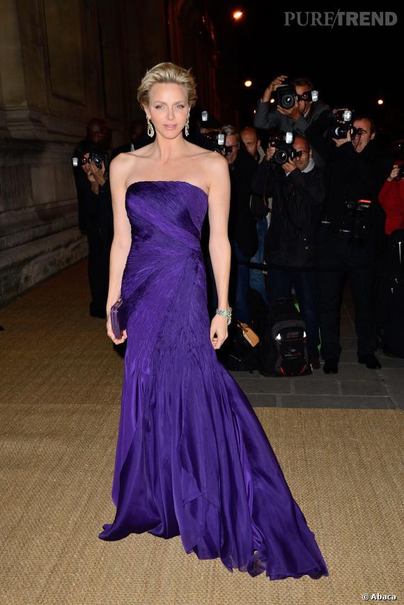 Charlene de Monaco rayonne aux Beaux-Arts à Paris pour un dîner Ralph Lauren très privé le 8 octobre 2013.