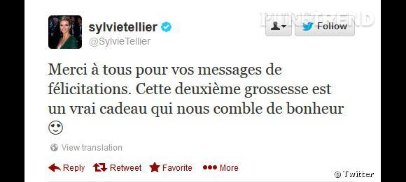 Sylvie Tellier remercie sur Twitter.