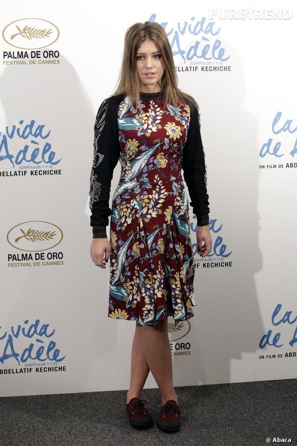 """Adèle Exarchopoulos lors de l'avant-première de """"La Vie d'Adèle"""" au Santo Mauro Hotel à Madrid."""