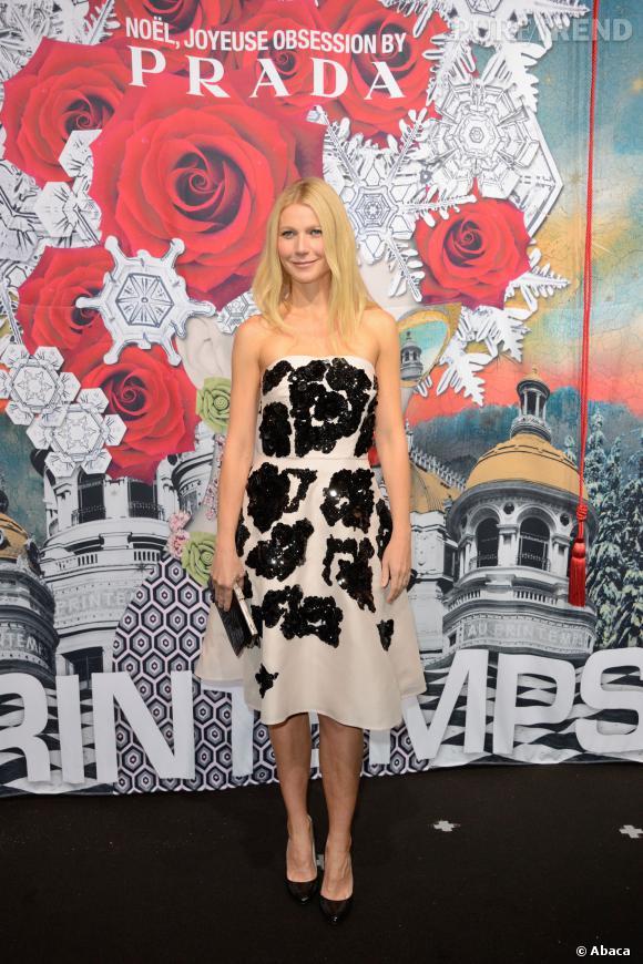 Gwyneth Paltrow a inauguré les vitrines du Noël 2013 du Printemps hier soir.