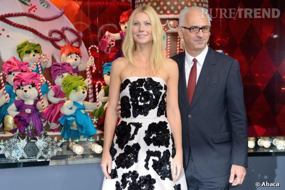 Gwyneth Paltrow et Paolo De Cesare, Président-directeur général du Printemps, hier soir.