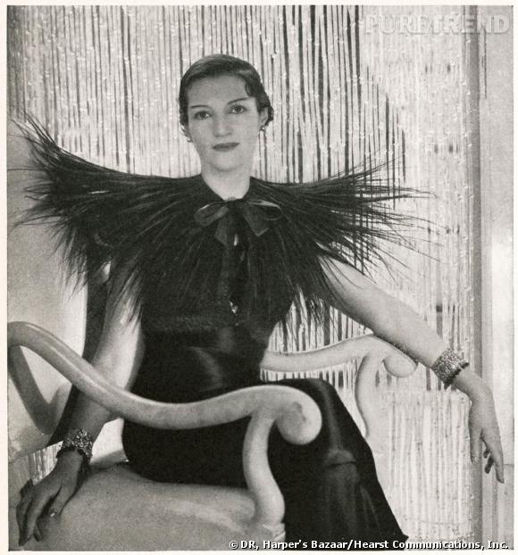 Elsa Schiaparelli. Mrs. Reginald Fellowes in Elsa Schiaparelli ensemble, 1933.Courtesy of Harper's Bazaar/Hearst Communications, Inc.