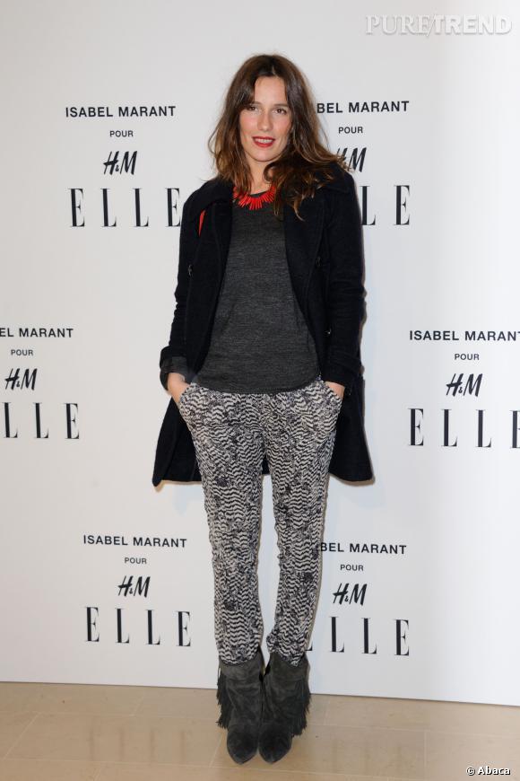 """Zoé Felix en total look Isabel Marant pour H&M à la soirée """"shooping party"""" Isabel Marant pour H&M."""