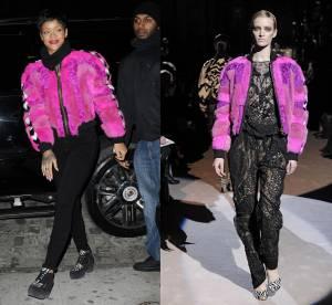 Rihanna vs le podium : la fourrure fluo pour un hiver osé