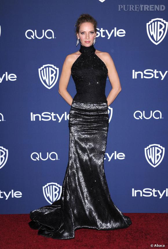 Uma Thurman à l'after party InStyle des Golden Globes 2014.
