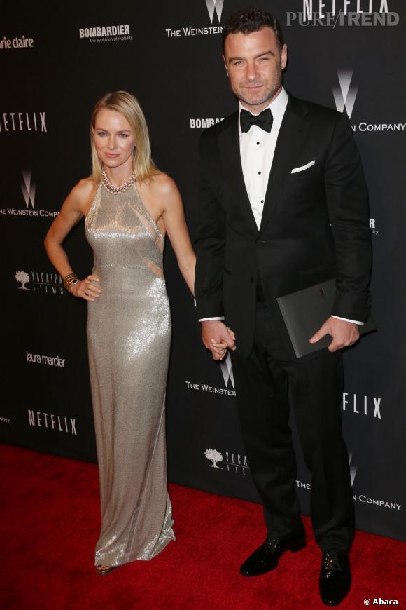 Liev Schreiber et Naomi Watts à l'after party Weinstein et Netflix des Golden Globes 2014.