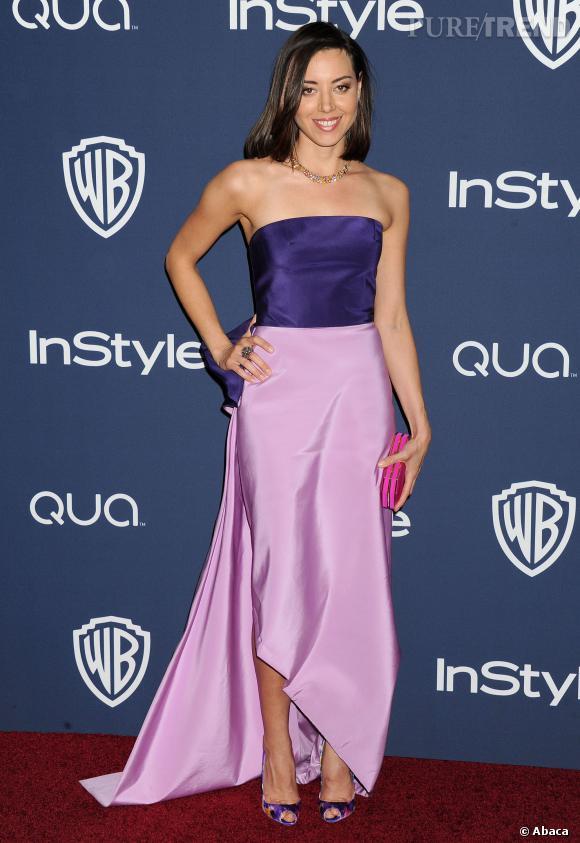 Aubrey Plaza à l'after party des Golden Globes 2014.