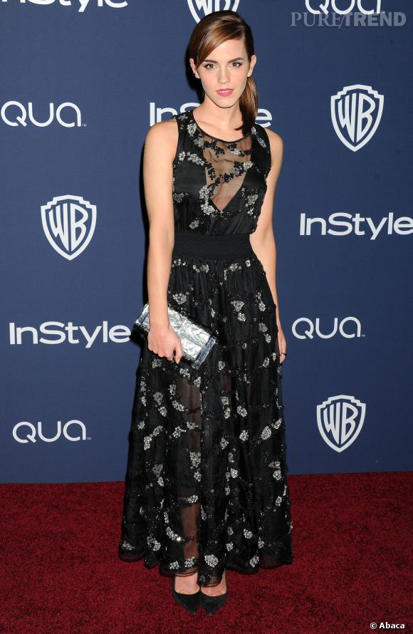 Emma Watson s'est changée avant d'aller à l'after party InStyle et Warner Bros des Golden Globes 2014.