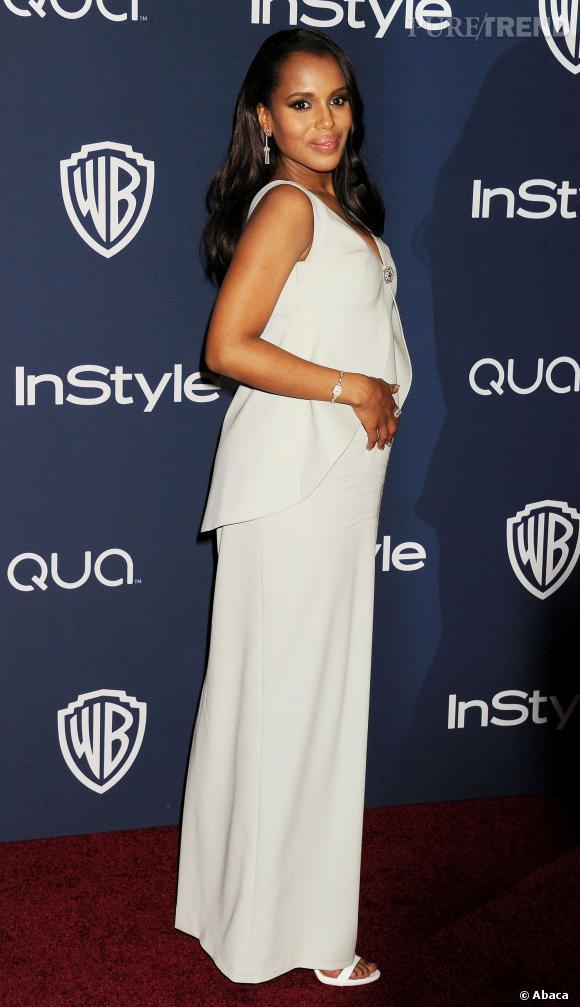 Kerry Washington, enceinte à l'after party des Golden Globes 2014.