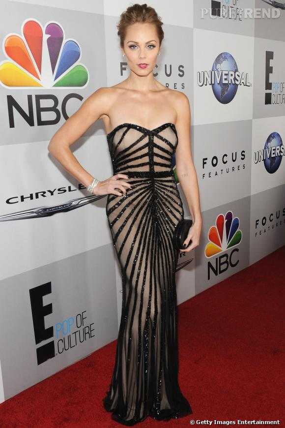 Laura Vandervoort à l'after party NBC des Golden Globes 2014.