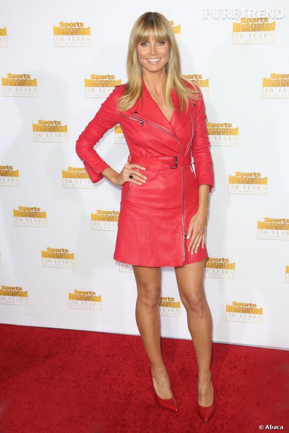 """Heidi Klum très glamour à l'occasion du 50e anniversaire de Sports Illustrated et son numéro spécial """"Swinsuit"""" le 14 janvier 2014, à Los Angeles."""