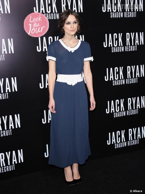 """Keira Knightley affiche une allure sophistiquée et rétro pour la première de """"Jack Ryan : Shadow Recruit"""" à Hollywood, le 15 janvier 2014."""