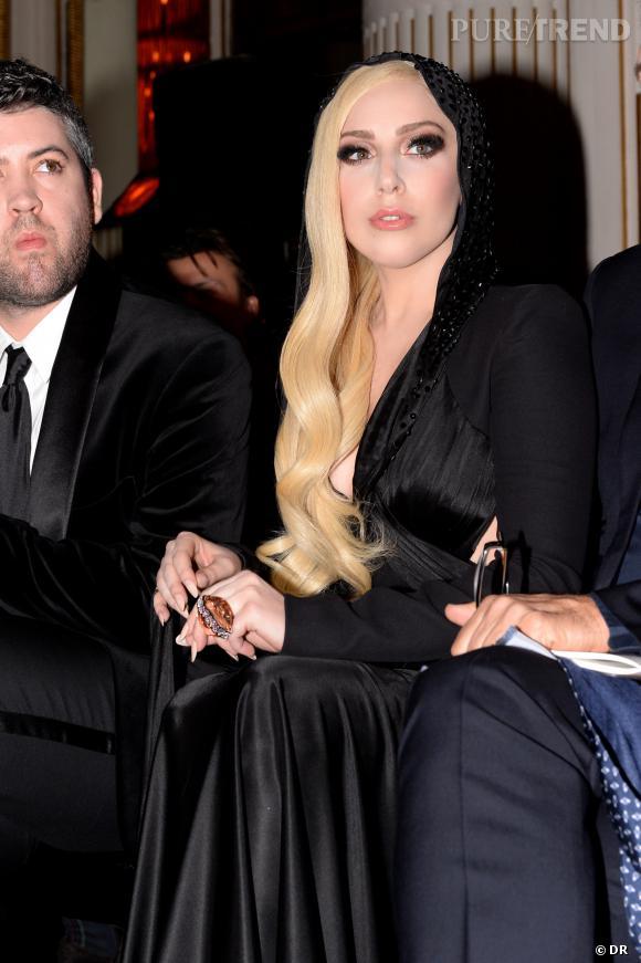 Lady Gaga au défilé Atelier Versace Haute Couture Printemps-Été 2014.