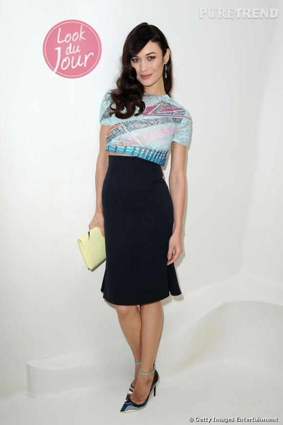Olga Kurylenko au défilé Christian Dior Haute Couture Printemps-Été 2014.