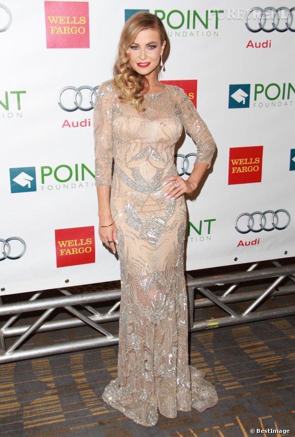 """Carmen Electra en robe nude à la soirée de gala """"Voices On Point"""" au profit de la fondation """"Point Foundation"""", le 7 septembre 2013."""