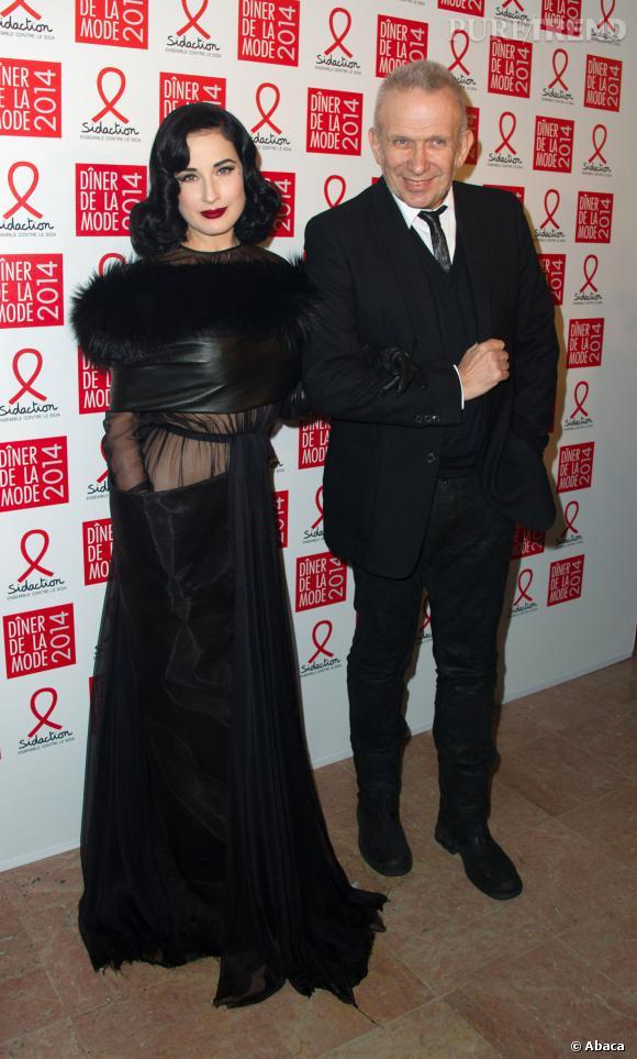 Dita Von Teese et Jean Paul Gaultier au 12ème Dîner du Sidaction au Pavillon d'Armenonville, le jeudi 23 janvier 2014.