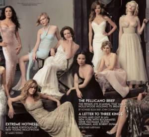 Naomi Watts, Salma Hayek, Jennifer Aniston, Kirsten Dunst, Diane Lane, Lucy Liu, Hilary Swank, Alison Lohman, Scarlett Johansson, et Maggie Gyllenhaal en couverture intérieure du Vanity Fair Hollywood Issue 2004.