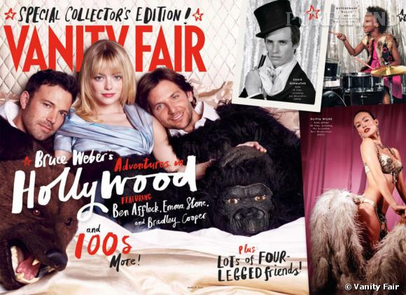 "Ben Affleck, Emma Stone et Bradley Cooper sur la couverture Vanity Fair du ""Hollywood Issue"" de 2013."