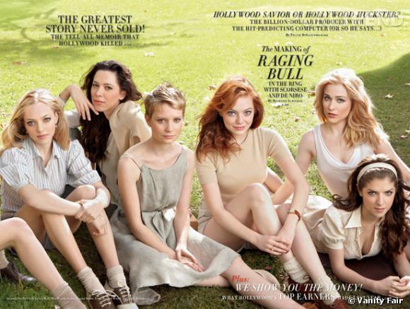 Amanda Seyfried, Rebecca Hall, Mia Wasikowska, Emma Stone, Evan Rachel Wood, et Anna Kendrick en couverture du Vanity Fair Hollywood Issue 2010.