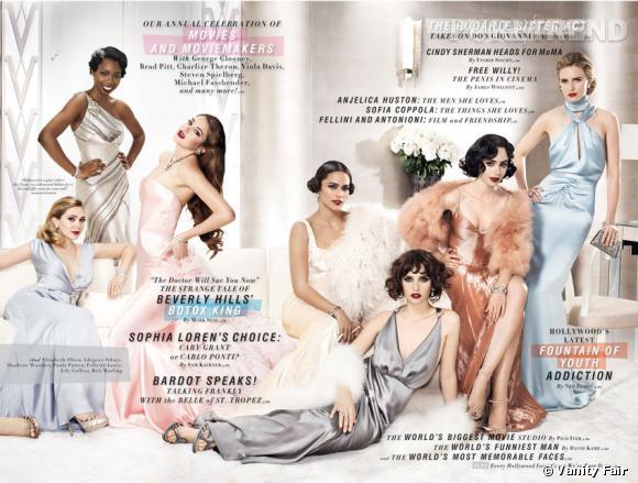 "Elizabeth Olsen, Adepero Oduye, Shailene Woodley, Paula Patton, Felicity Jones, Lily Collins, et Brit Marling en couverture intérieure du Vanity Fair ""Hollywood Issue 2012""."