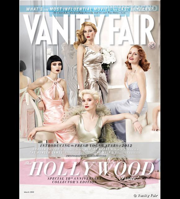 "Rooney Mara,   Mia Wasikowska, Jennifer Lawrence et Jessica Chastain, divines   en couverture du Vanity Fair ""Hollywood Issue 2012""."