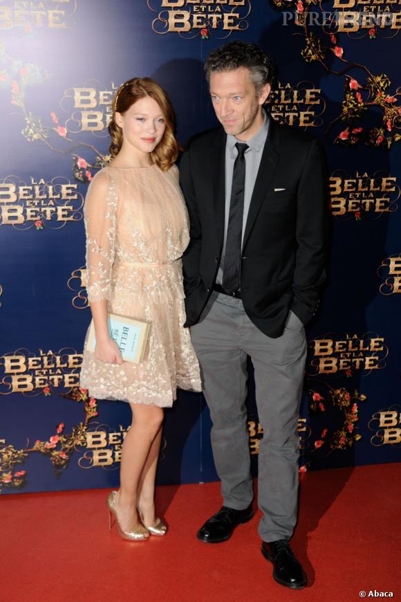 """Léa Seydoux et Vincent Cassel étaient les invités de """"C à Vous"""", le 11 février 2014 pour """"La Belle et la Bête""""."""
