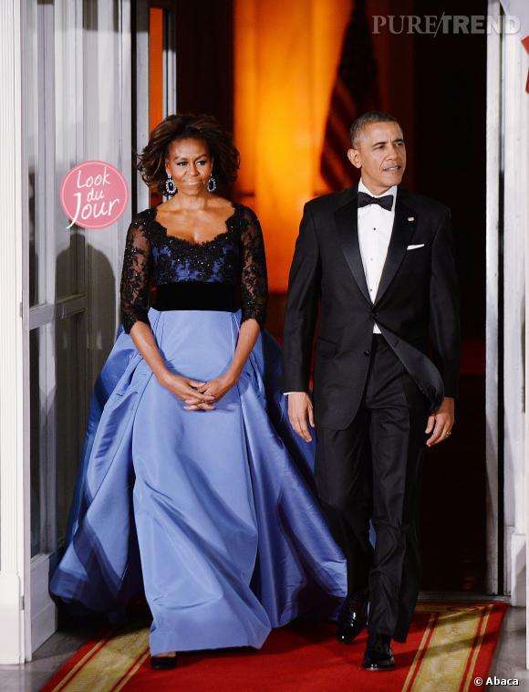 Michelle Obama lors d'un dîner d'État donné en l'honneur de François Hollande à la Maison Blanche le 11 février 2014.