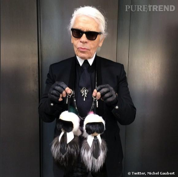 "Karl Lagerfeld et ses ""mini-lui"" en fourrure."