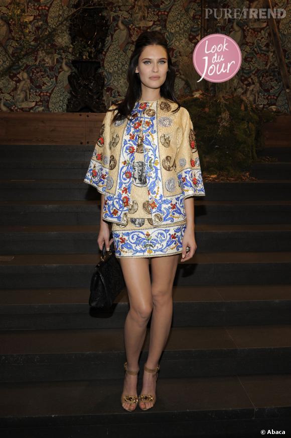 Bianca Balti au défilé Dolce & Gabbana Automne-Hiver 2014/2015.