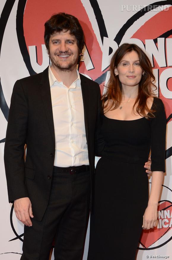"""Laetitia Casta et Fabio De Luigi à la première du film """"Una donna per amica"""" à Rome, le 24 février 2014."""