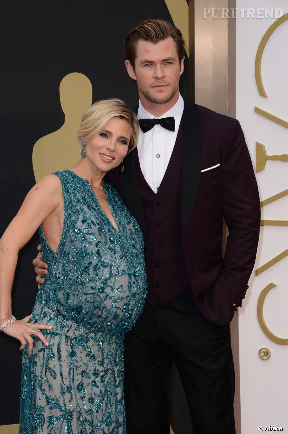 Elsa Pataky et Chris Hemsworth sur le red carpet des Oscars 2014.