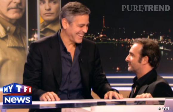 Jean dujardin et george clooney sur le plateau de tf1 de for Dujardin clooney