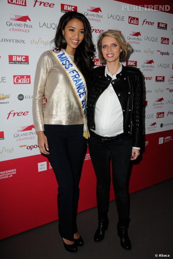 Sylvie Tellier et Flora Coquerel la Miss France au Grand Prix d'Amérique de Vincennes, le 26 janvier 2014.