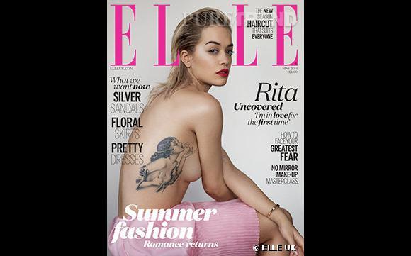 Rita Ora dévoile son tatouage des années 30 sur la couverture du dernier ELLE UK.