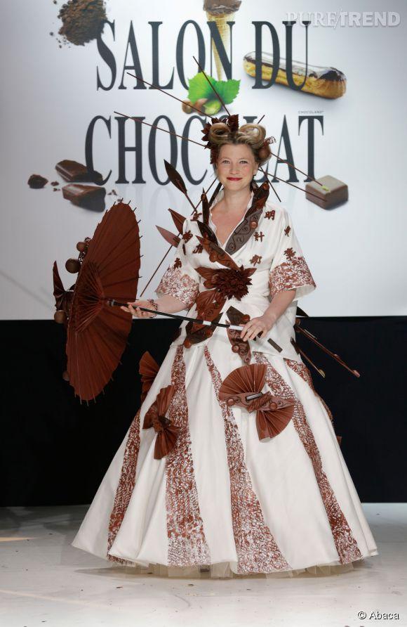 Cécile Renoir lors du dernier salon du chocolat le 29 octobre 2013.