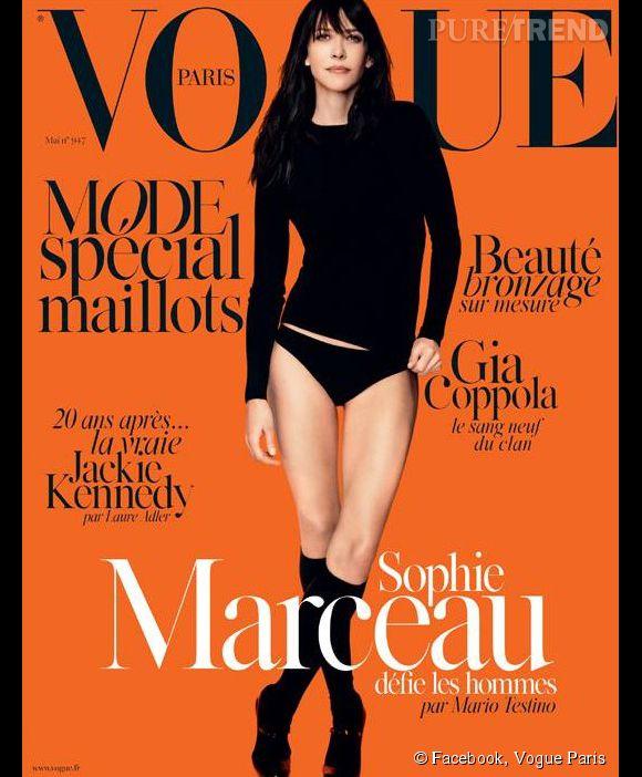 Sophie Marceau en Une du numéro de mai 2014 de  Vogue Paris .