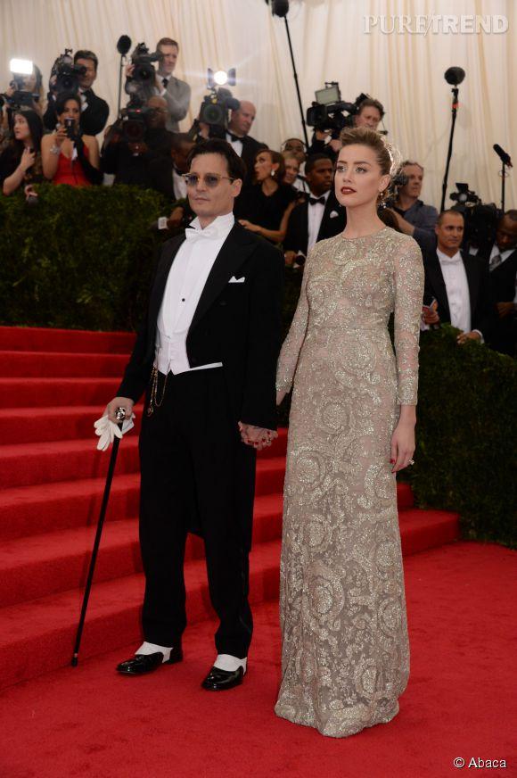 Johnny Depp et Amber Heard en Giambattista Valli au gala du MET le 5 mai 2014.