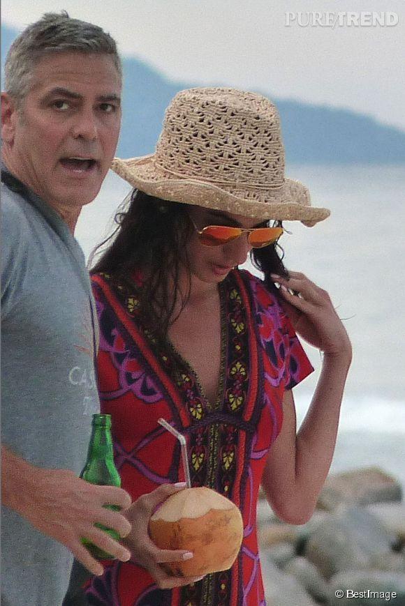 George Clooney et sa belle Amal Alamuddin, en vacances au soleil.
