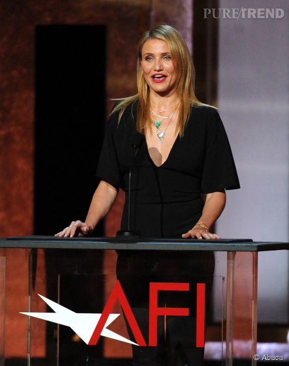 Cameron Diaz en Stella McCartney lors de la soirée AFI Life Achievement Award : A tribute to Jane Fonda à Los Angeles le 5 juin 2014.