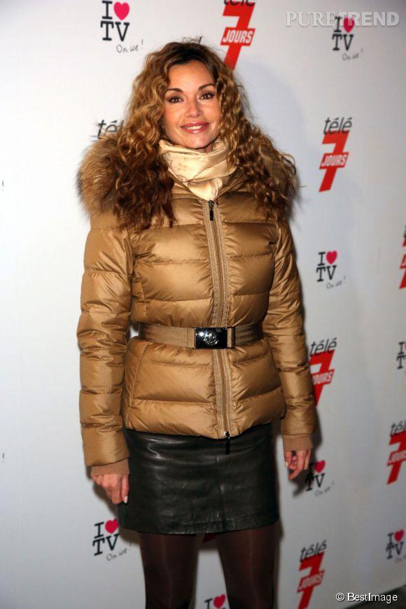 Ingrid Chauvin emmitouflée lors d'une soirée organisée par Télé 7 Jours fin 2012.