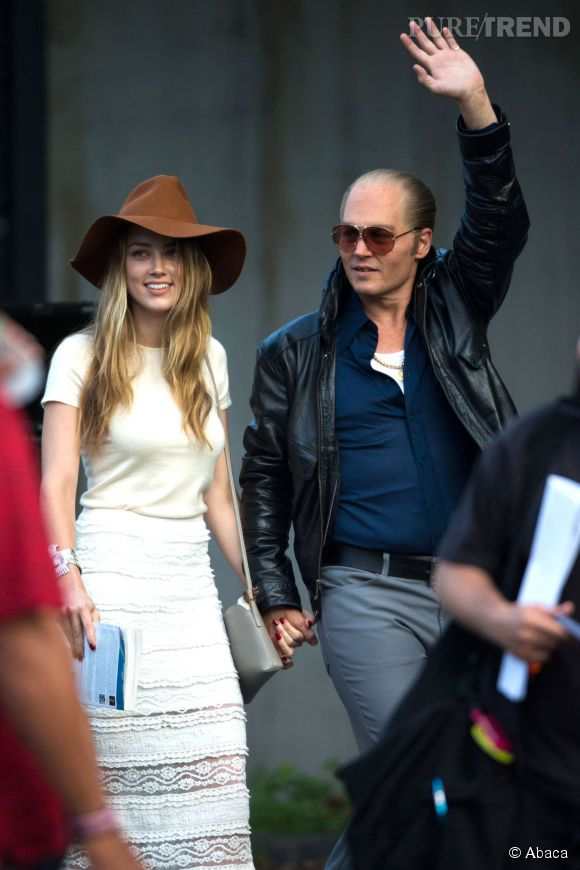 "Amber Heard et Johnny Depp sur les tournages du film ""Black Mass""."