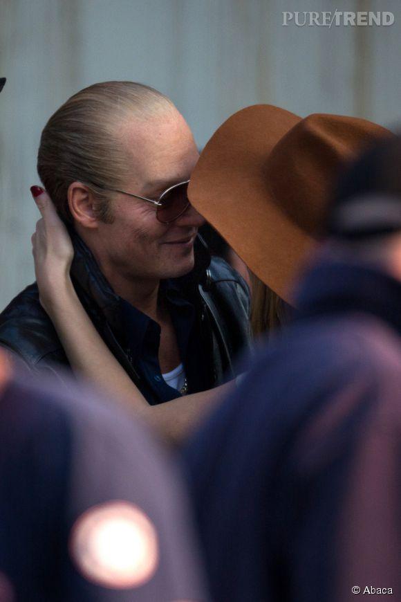 """Amber Heard et Johnny Depp, complices sur les tournages de """"Black Mass""""."""