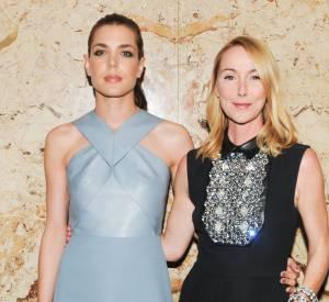 Charlotte Casiraghi et son amie, Frida Giannini, lors de la soirée de lancement des cosmétiques Gucci à l'Hôtel Carlyle le 4 mai 2014 à Paris.