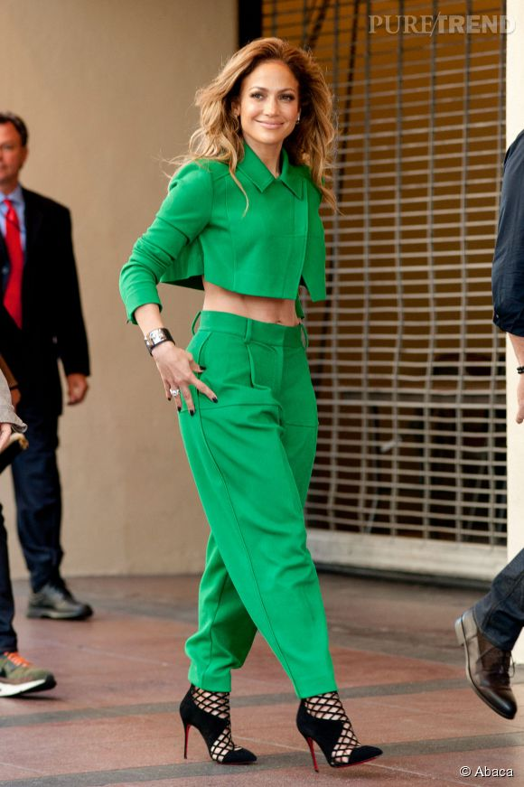 """Jennifer Lopez sur le tournage d'""""American Idol"""" à Los Angeles le 28 octobre 2014."""