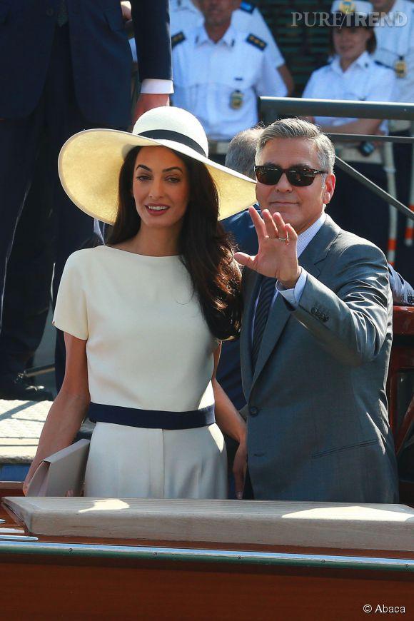 Amal Alamuddin et George Clooney, lors de leur mariage à Venise fin septembre 2014.