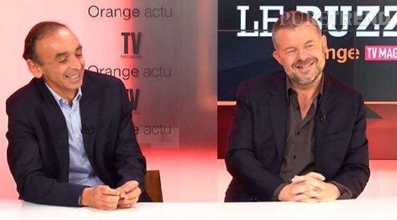Éric Naulleau et Éric Zemmour, invités sur le plateau du Buzz TV.