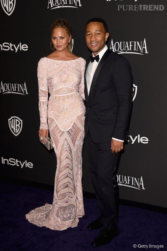 Chrissy Teigen en Zuhair Murad et John Legend lors de l'after party WB InStyle Golden Globe au Hilton de Beverly Hills le 11 janvier 2015.