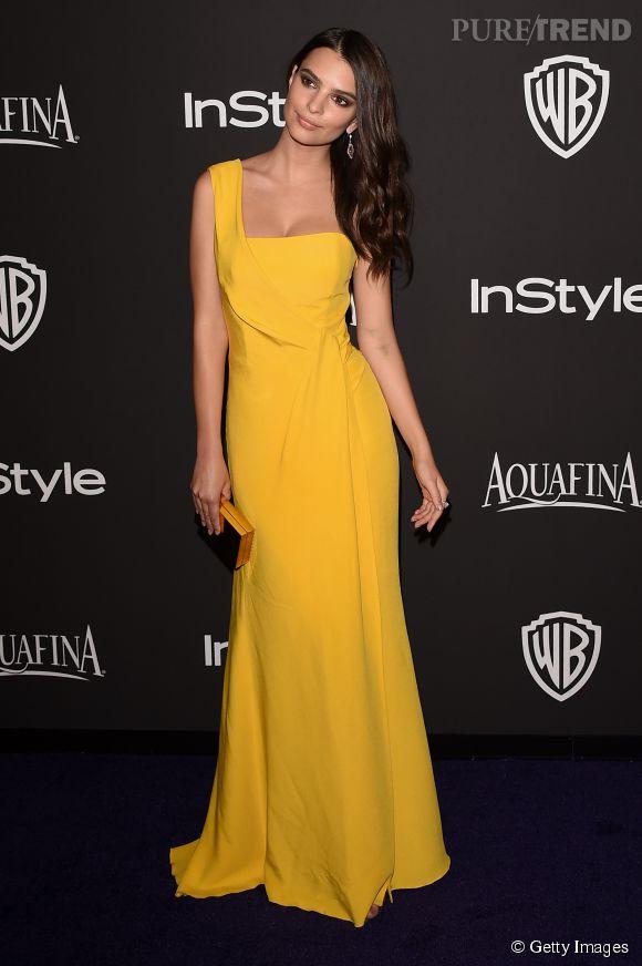 Emily Ratajkowski en Escada lors de l'after party WB InStyle Golden Globe au Hilton de Beverly Hills le 11 janvier 2015.