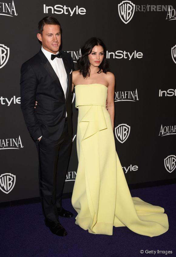"""Channing Tatum et Jenna Dewan Tatum en Carolina Herrera lors de l'after party WB InStyle Golden Globe au Hilton de Beverly Hills le 11 janvier 2015. L'actrice porte la clutch """"Box"""" de Jimmy Choo."""