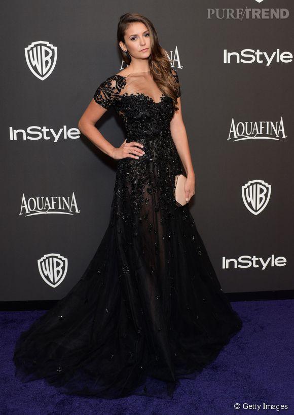 Nina Dobrev en Zuhair Murad lors de l'after party WB InStyle Golden Globe au Hilton de Beverly Hills le 11 janvier 2015.